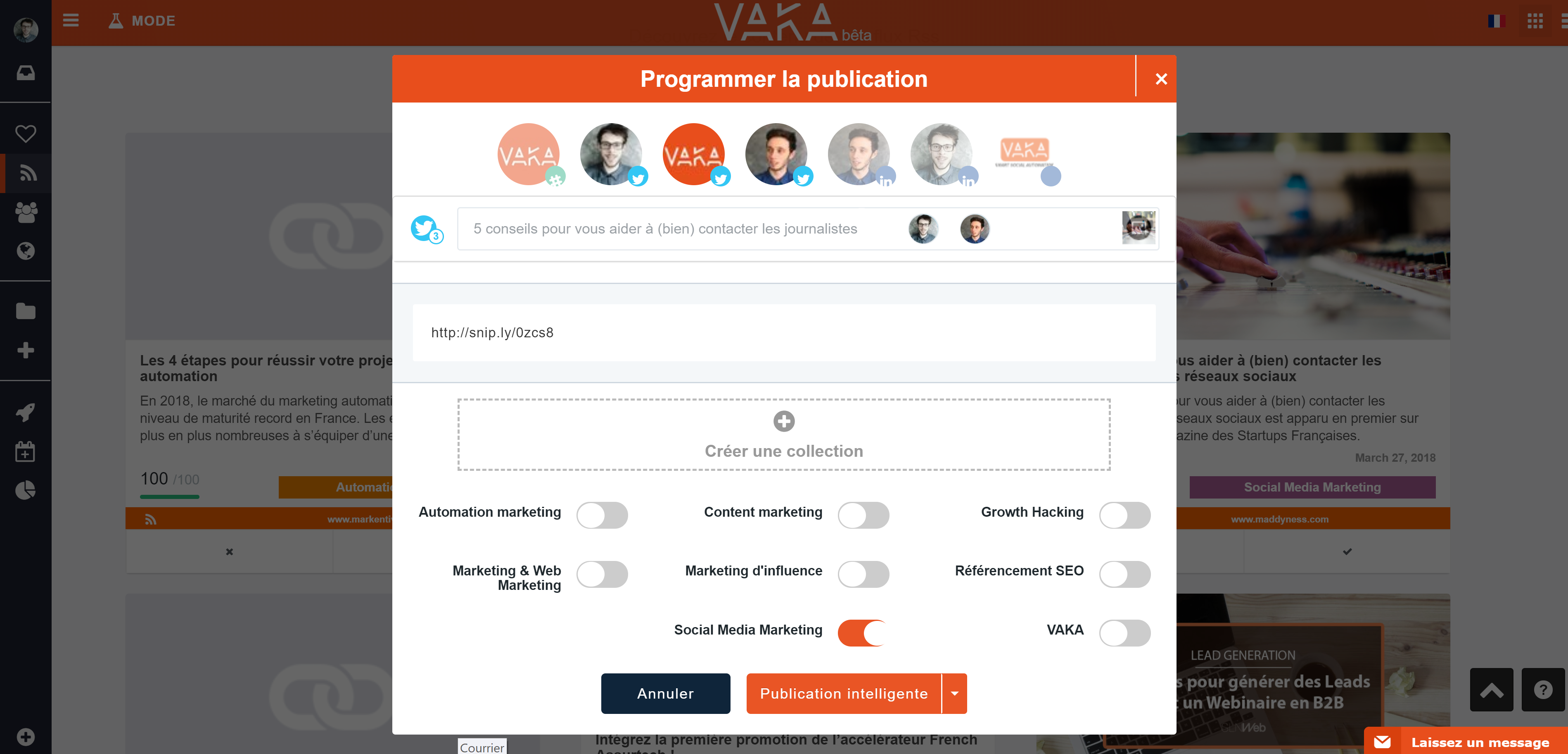 vaka-twitter-api - Selection des comptes twiters